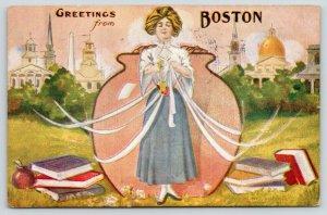 Boston MA~Lady By Bean Pot Offers Skeleton Key to City~Books~1910 Artist PC