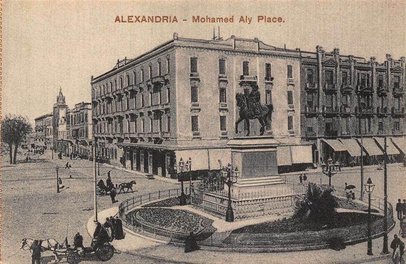 Egypt Alexandria Mohamed Aly Place Statue Monument Postcard