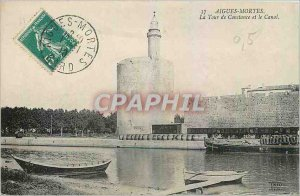Old Postcard Aigues Mortes Constance Tower and the Canal