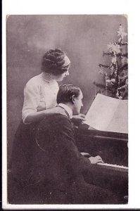 B&W Photo Couple Singing at Piano, Christmas Tree, Used Korsnaes Finland 1913