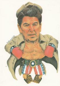 Ronald Reagan US President as Boxer Comic Boxing Postcard