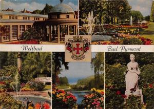 GG13489 Weltbad Bad Pyrmont Wandelhalle Statue Brunnen Park Promenade