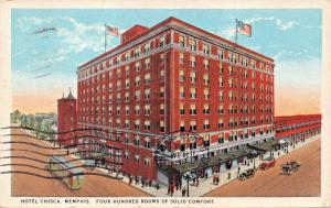 MEMPHIS TENNESSEE~CHISCA HOTEL-400 ROOMS OF SOLID COMFORT  POSTCARD 1932 PSTMK