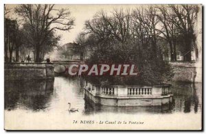 Nimes - The Canal and Fountain - Old Postcard