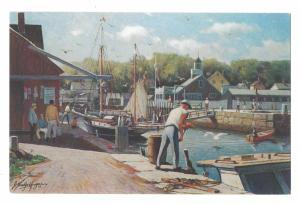 Cape Ann MA Harbor Fisherman Loading Bait Artist J Bradford Hague Postcard