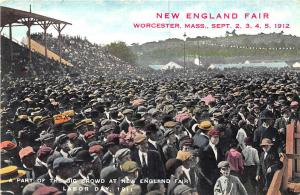 Worcester MA New England Fair 1911 Labor Day Large Crowd Postcard