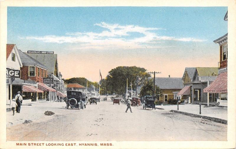 Hyannis MA~Main St~McGathlin & Guyer Drug Stores~Watchmaker~Garage 1920s