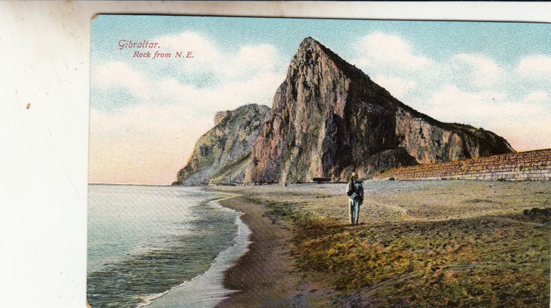 P1870 old gibraltar rock postcard from n.e. person walking on beach