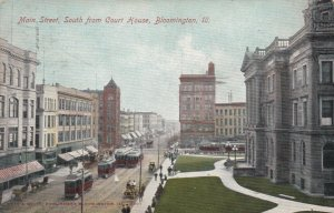BLOOMINGTON, Illinois, PU-1907; Main Street, South from Court House