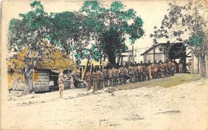 Philippines Prisoners Entering Stockade Real Photo 1200 in 1912 RPPC Postcard