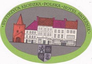 Poland Bystrzyca Klodzka Hotel Snieznik Vintage Luggage Label lbl1651