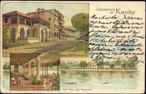ceylon, KANDY, Queen's Hotel, Lake (1903) Litho Stamps