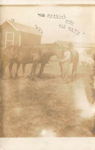 EARLY 1900'S W.M. MARBEL AND HIS PET HORSES  RPPC REAL PHOTO POSTCARD