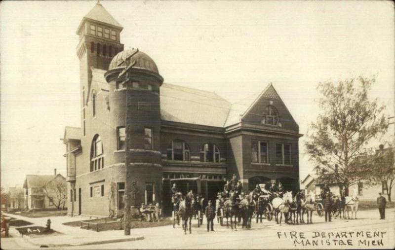 Manistee MI Fire Department c1910 Real Photo Postcard