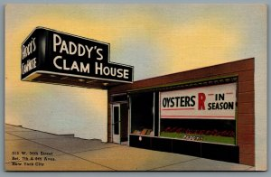 Postcard New York City NY c1940s Paddy's Clam House Shell Fish Specialist Oyster