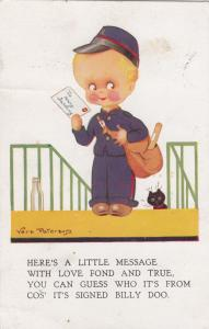 AS; Vera Paterson, 1930; Mail person holding a message with Love, fond and true