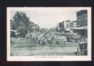 STUTTGART ARKANSAS DOWNTOWN MAIN STREET SCENE COTTON WAGONS OLD POSTCARD