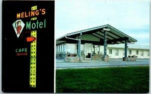 Monmouth, Illinois Postcard MELING'S MOTEL 2 Views Route 67 Roadside c1960s