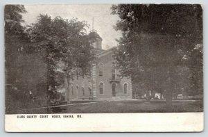 Kahoka Missouri~Clark County Court House~Trees on Lawn~1908 B&W Postcard