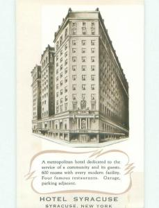 1940's SYRACUSE HOTEL Syracuse New York NY HQ5875