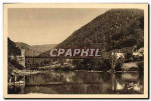 Old Postcard Suspension Bridge of Chambon Laygye Gorges of the Dordogne