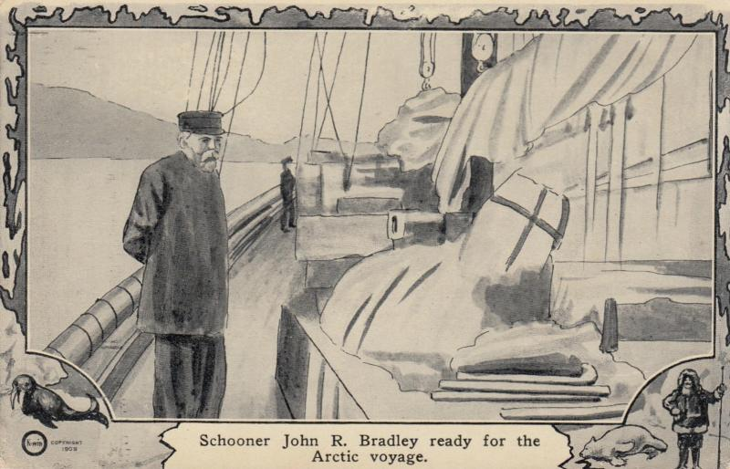 NORTH POLE, 1900-10s; Schooner John R. Bradley ready for the Arctic voyage