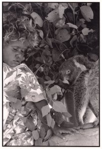 Aborigine Child & Baby Koala Bear Australian Postcard