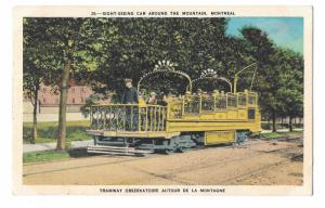 Montreal Canada Tramway Sight Seeing Car Around The Mountain Vintage Postcard