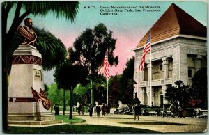 1916 San Francisco CA Postcard Great Monument and the Museum, Golden Gate Park