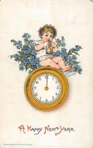 Brundage Happy New Year Baby With Hourglass Clock Antique Postcard K9312