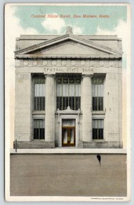 Des Moines Iowa~Central State Bank~Close Up Pillars~Bars on Windows~1923