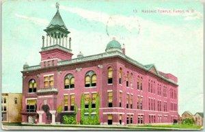 Fargo, North Dakota Postcard MASONIC TEMPLE Lodge Building / Street View 1910