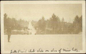 Lake Placid Club NY Mirror Lake & Toboggan Hill c1910 Real Photo Postcard