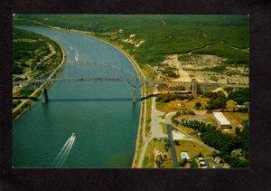 MA Aerial View Sagamore Bridge Cape Cod Canal Massachusetts Postcard