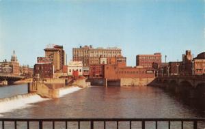 WATERLOO IA~SKYLINE ACROSS CEDAR RIVER-BLACK HAWK COURT HOUSE 1955 POSTCARD