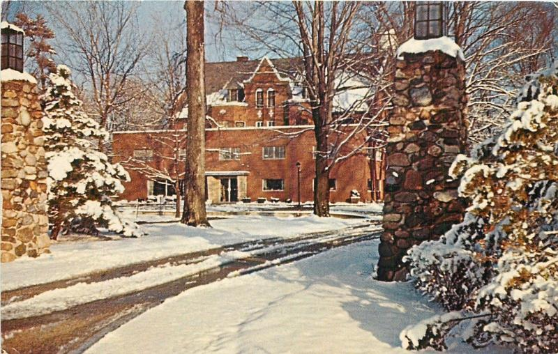 Wabash Indiana~White's Institute~Administration Bldg in the Snow~1950's Postcard