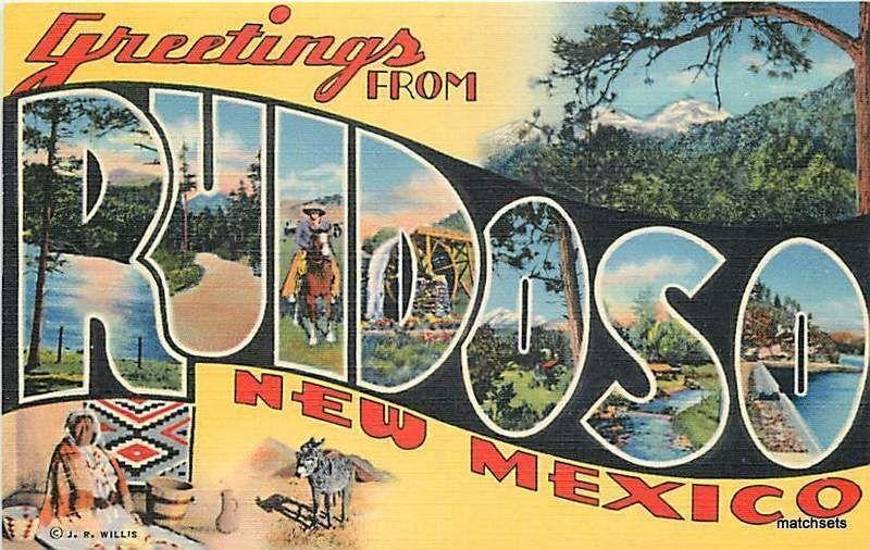 Linen Large Letters Multi View RUIDOSO, NEW MEXICO CURT TEICH CO 1829 Postcard