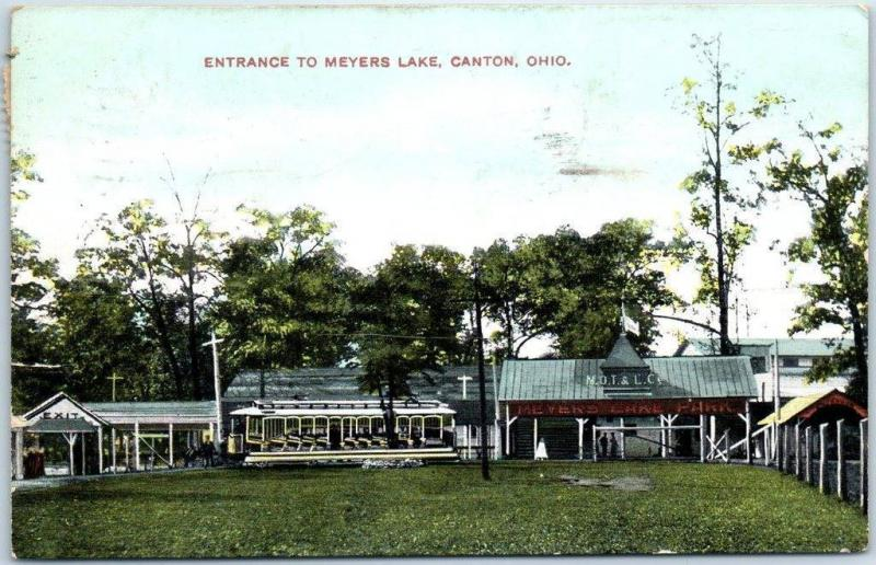 Canton, Ohio Postcard Entrance to MEYERS LAKE Trolley Depot View 1908 Cancel