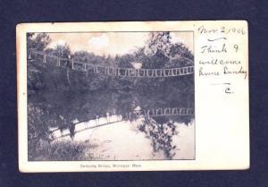MA 1906 Swinging Bridge MONTAGUE MASS POSTCARD PC Massachusetts