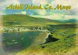 Ireland Achill Island Co Mayo Cliffs Landscape Postcard