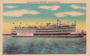 All Steel Steamer President On The Mississippi