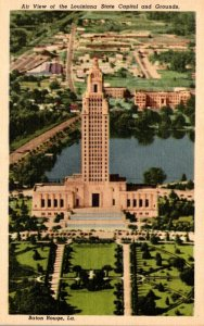 Louisiana Baton Rouge Aerial View State Capitol Grounds Curteich