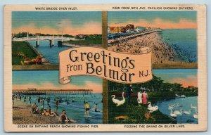 Postcard NJ Belmar Multiview Greetings Beach Silver Lake White Bridge 4 View M08