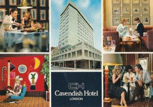 Posh Women Courting at the Cavendish Hotel Bar London 1980s Postcard