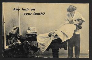 Man in Barber Chair Lady Barber 'Any Hair on your Teeth' Used c1913