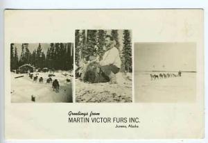 Juneau AK Martin Furs Dogs Advertising RPPC Postcard