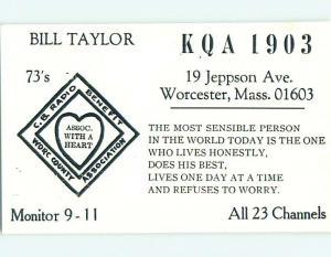 comic - QSL CB HAM RADIO CARD Worcester Massachusetts MA t9819