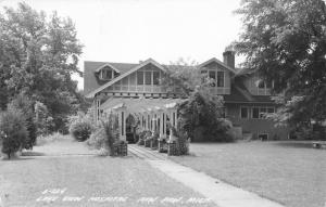 Paw Paw Michigan~Colonnade Leading to Stick-Style Lake View Hospital~RPPC 1940s