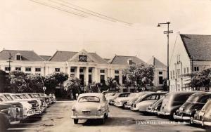 Curacao NWI Town Hall and Parking Lot Real Photo Antique Postcard J79381