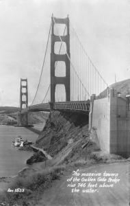 San Francisco California~Golden Gate Bridge Towers~Bay Below~1950s RPPC Postcard